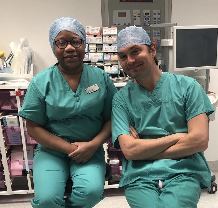 Camille Billet (theatre sister) and Oliver Bowes (consultant surgeon)