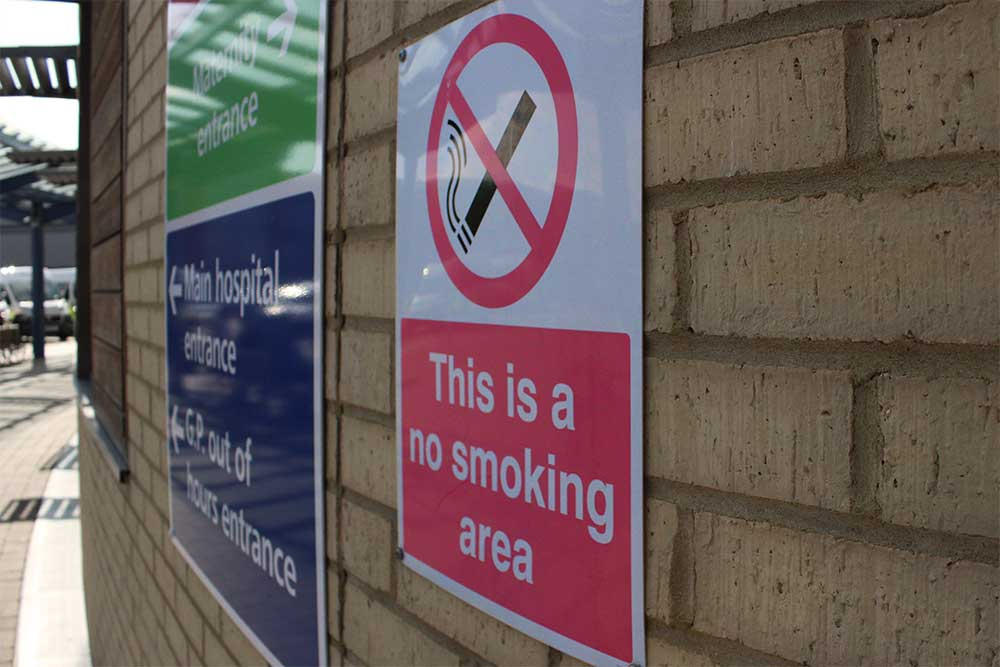 No smoking sign at Queen's Hospital, Romford