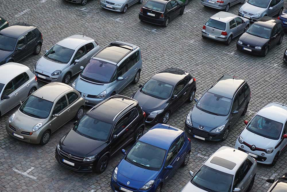 a row of parked cars