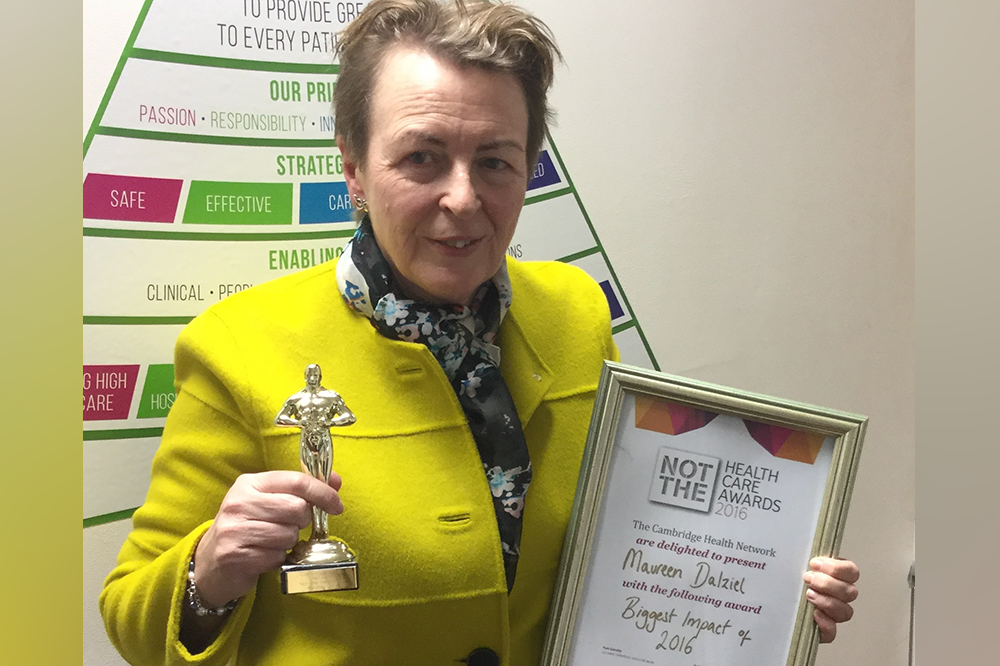 Maureen Dalziel with her Cambridge Health Network award for Biggest Impact of 2016