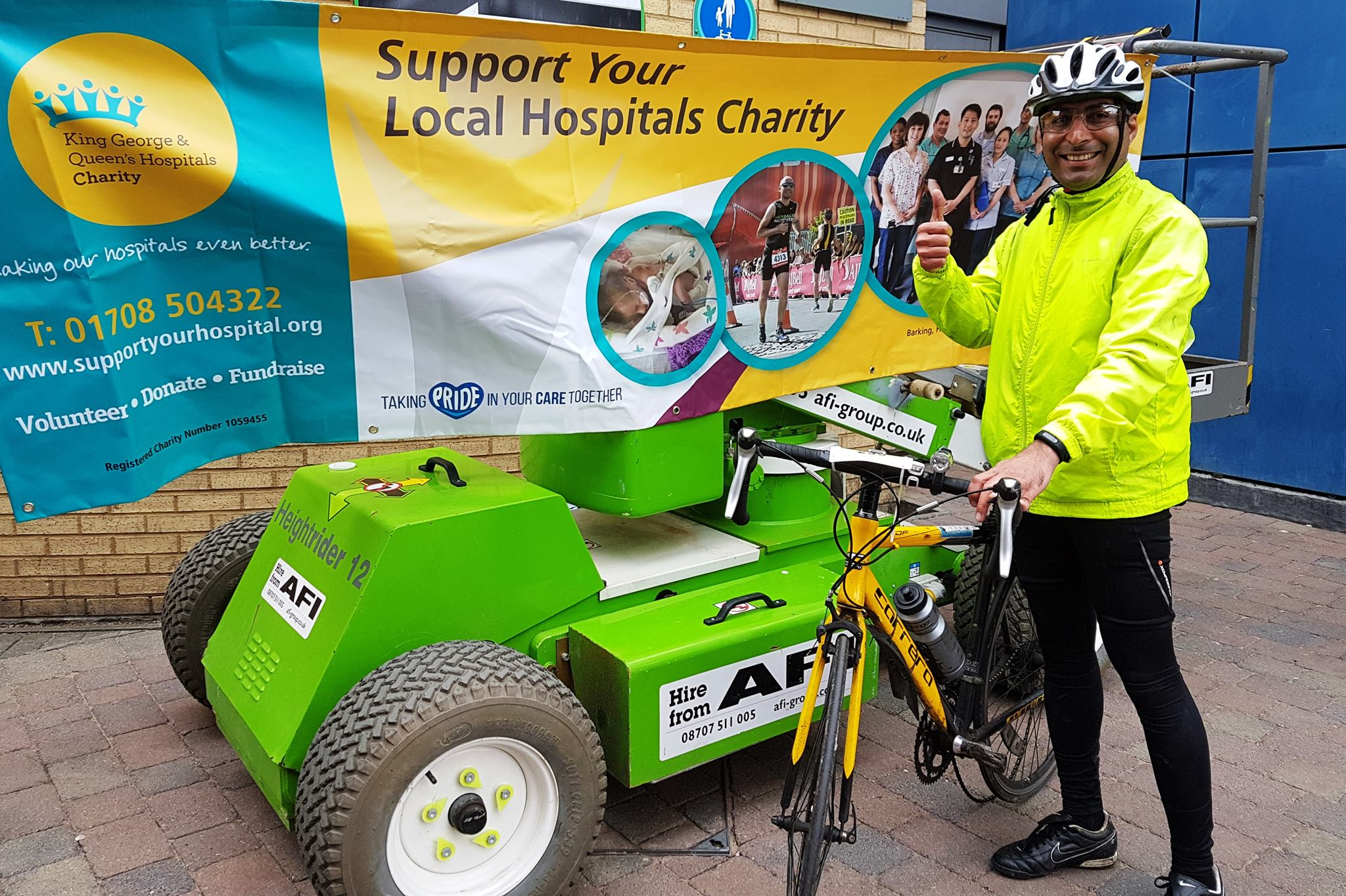 man promoting cycling challenge