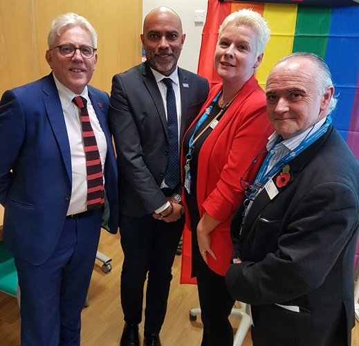 Pictured are David Sloman and Michael Brady with the Chair of the LGBT+ network, Victoria Miles-Gale and our interim Chief Executive, Chris Bown.