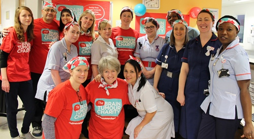Staff and patients helping to raise awareness of Brain Tumours Day