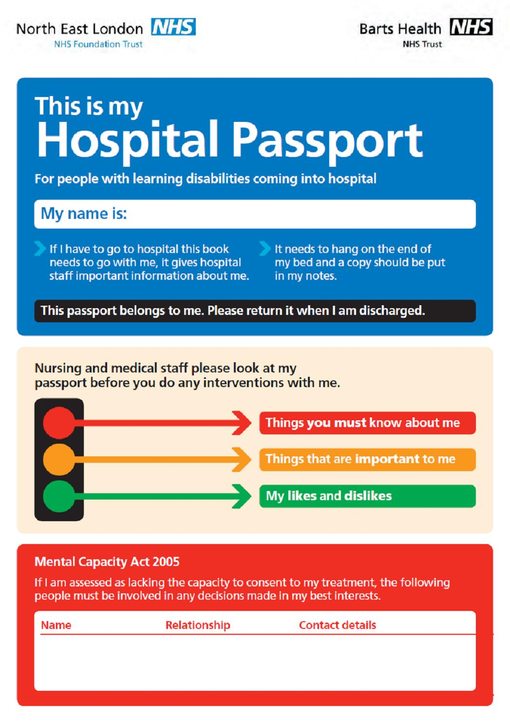 Hospital passport cover